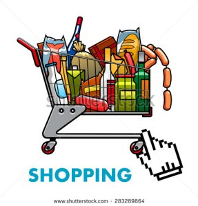 stock-vector-online-shopping-concept-with-a-full-shopping-cart-of-assorted-groceries-and-drinks-with-web-hand-283289864